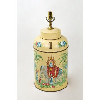 "Vintage Tole Tea Caddy Lamp With Elephant Rider ""No.1"" Preview"