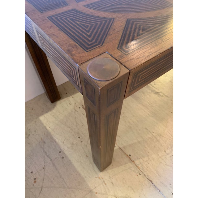 Brown Inlaid Wood Rectangular End Table With Geometric Decoration For Sale - Image 8 of 13