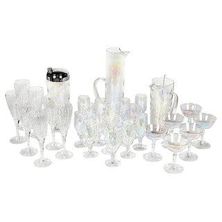 1950s Iridescent Beverage Set, 32 Pcs For Sale
