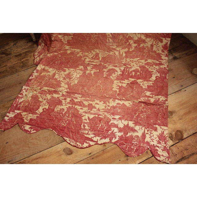 18th Century Antique French Toile l'Art d'Aimer Chef De Piece Bordeaux Coverlet For Sale - Image 5 of 12