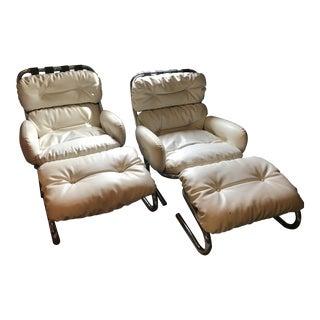 Vintage Milo Baughman Mid-Century Modern White Leather Lounge Chairs & Ottoman - 3 Pc. Set