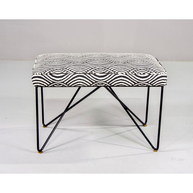 Contemporary Italian Mid-Century Style Bench With Black Iron Hairpin Legs For Sale - Image 3 of 13