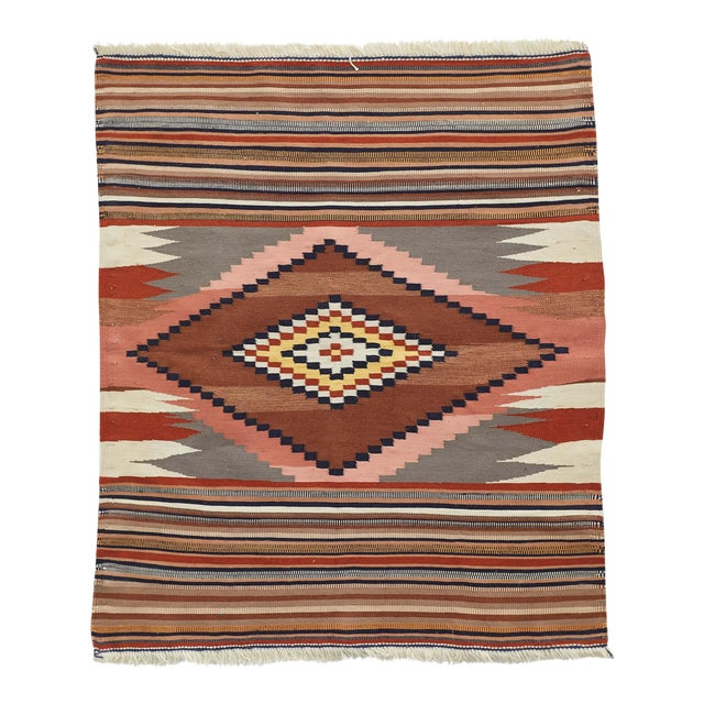 Contemporary Tribal Nomadic Handmade Wool Rug - 3′7″ × 3′7″ For Sale