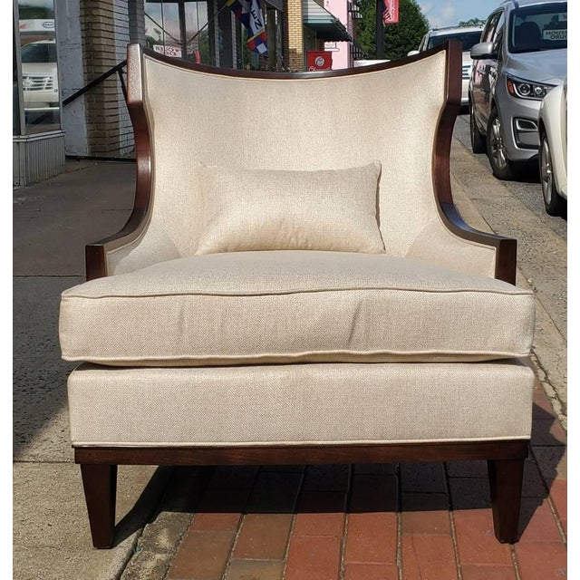 Wood Henredon Furniture Barbara Barry Accent/Lounge Chair W/ Kidney Pillow For Sale - Image 7 of 10