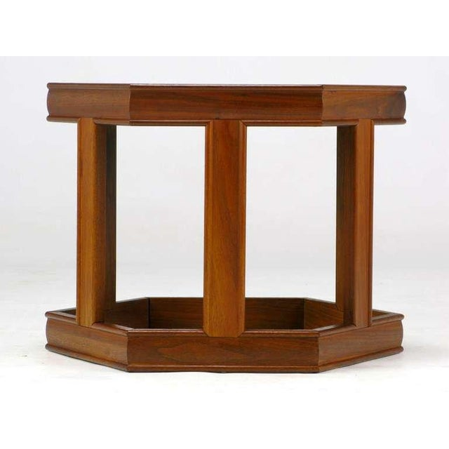 Brown and Saltman Pair Brown Saltman Walnut & Reverse Painted Glass Side Tables For Sale - Image 4 of 9