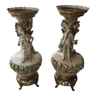 19th Century Figurative Old Paris Porcelain Vases - a Pair For Sale