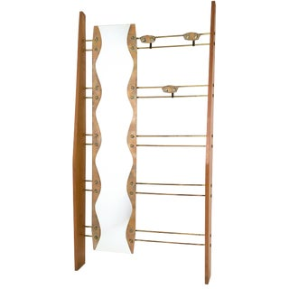 Italian Cherry, Brass and Mirror Coat Rack, 1950s For Sale