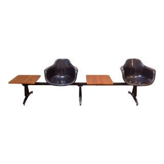 1960s Fiberglass Tandem Bench With Attached Tables - Krueger Metal Works For Sale