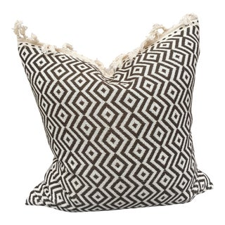 Hand Woven Pillow W/ Fringe. For Sale