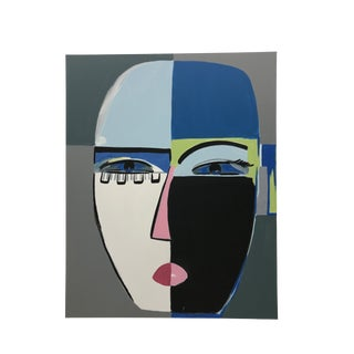 "Abstract Anastasia George ""Blue Eyes"" Original Acrylic Black and White Face Painting For Sale"