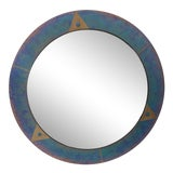 Image of Nadra Postmodern Round Accent Wall Hanging Mirror For Sale