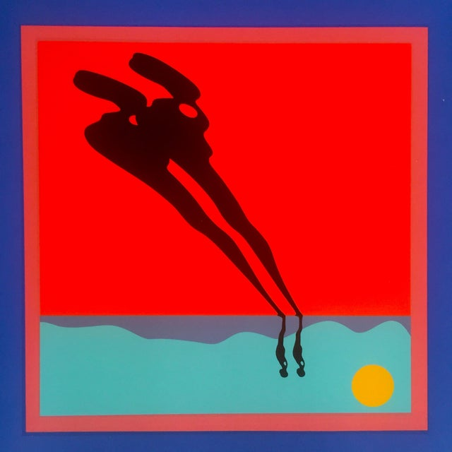 "Ernest Trova Limited Edition Original Serigraph Print Framed Poster "" Falling Man "" 1972 For Sale - Image 5 of 10"