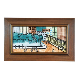 Cityscape Tile Art in Original Fruitwood Frame by Harris Strong For Sale