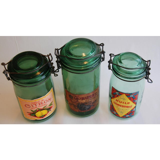 1930s Vintage French Labeled & Lidded Canning Preserve Jars - Set of 3 - Image 4 of 8