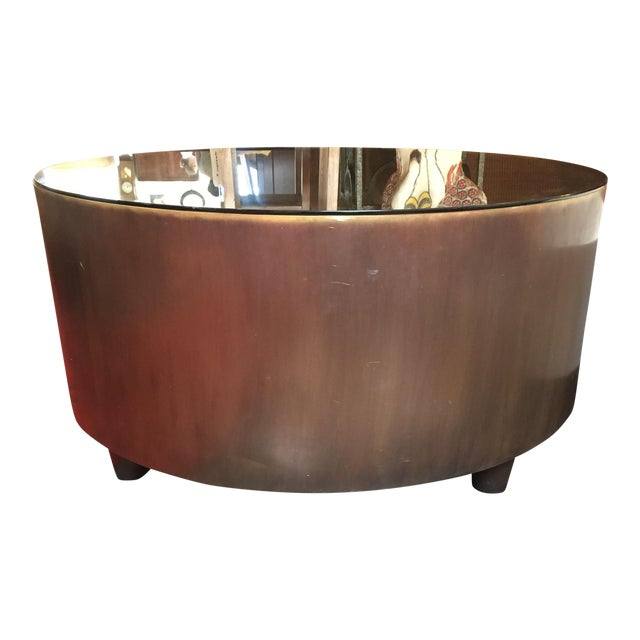 Cabana Round Brass Coffee Table With Bronze Finish