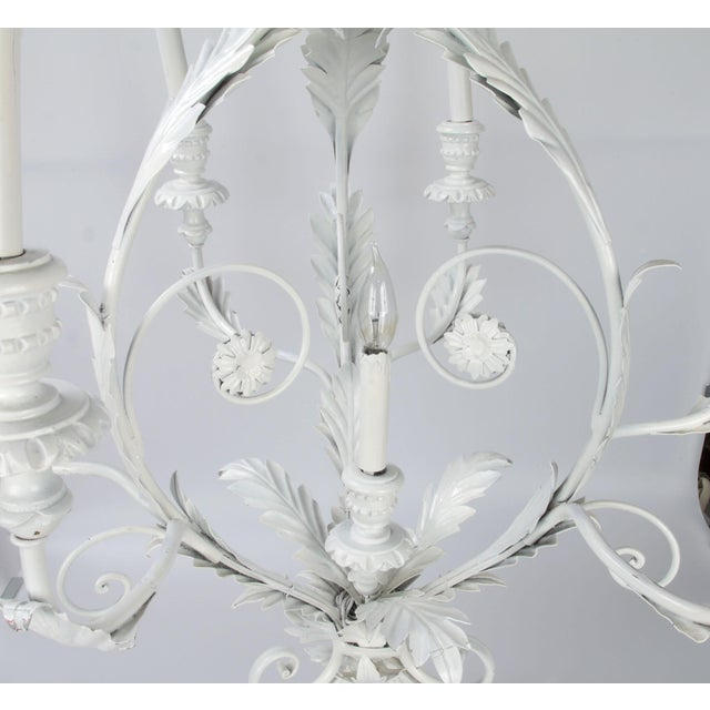 Italian Metal Flower Leaf Chandelier For Sale - Image 5 of 10