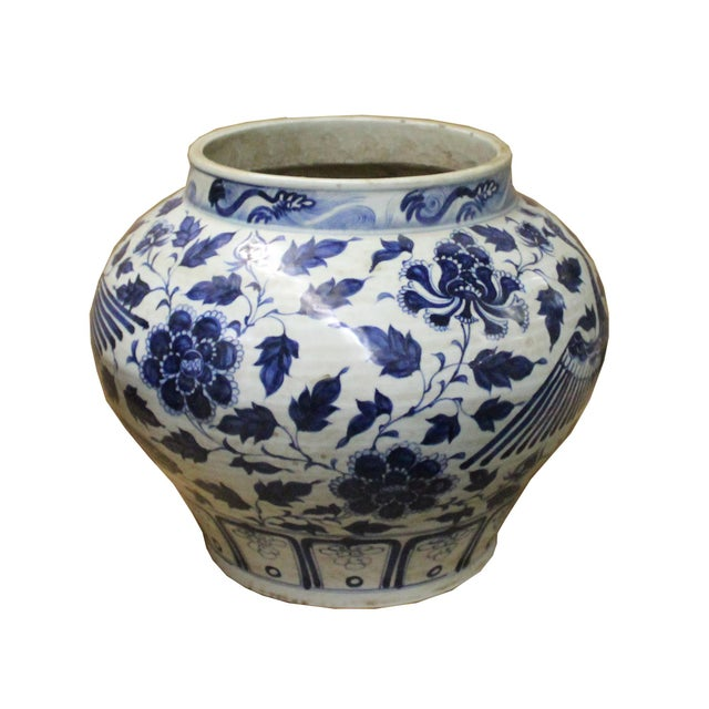 2010s Chinese Blue White Porcelain Graphic Fat Body Vase Jar For Sale - Image 5 of 10