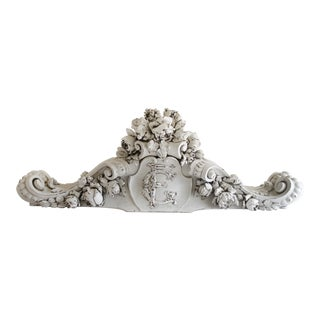 19th Century Hand Carved Walnut Architectural Header or Centerpiece With Roses For Sale