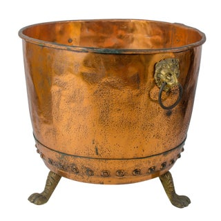 19th Century Traditional Copper Log Bucket For Sale