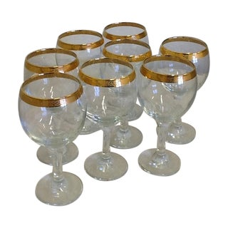 Vintage Tiffin Style Wine Glasses - Set of 8