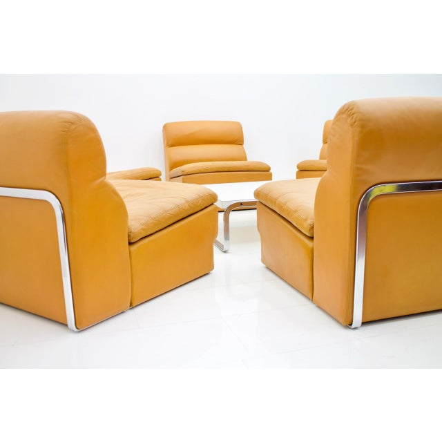 Alfred Kill International Modular Seating Group & Coffee Table Leather Sofa by Horst Brüning for Kill 1970 For Sale - Image 4 of 12