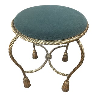 Mid Century Italian Gilt Rope and Tassel Vanity Low Stool For Sale