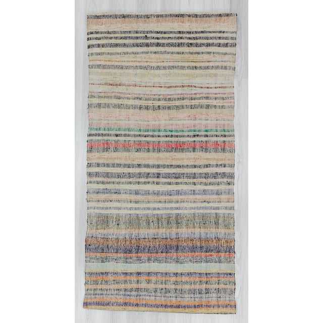 Handwoven striped rag rug from Adana region of Turkey. In good condition. Approximately 45-55 years old.