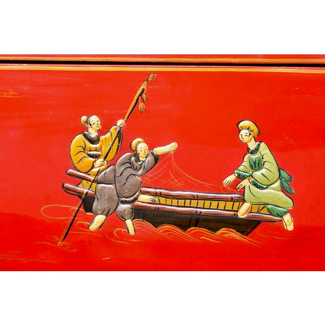 Metal Chinoiserie Red Lacquer Chest of Drawers For Sale - Image 7 of 13