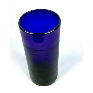 Hand Created Cobalt Blue Glass Cylinder Vase Preview