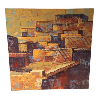 Southwestern Architectural Pueblo Oil Painting For Sale