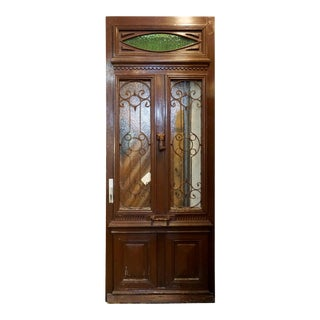 Late 19th Century Antique Oak, Glass and Iron Work Door with Transom For Sale