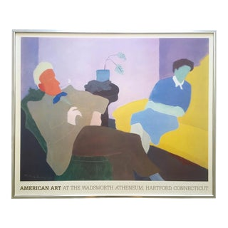 "Milton Avery Rare Vintage 1984 Lithograph Print Large Framed Museum Poster "" Husband and Wife "" 1945 For Sale"