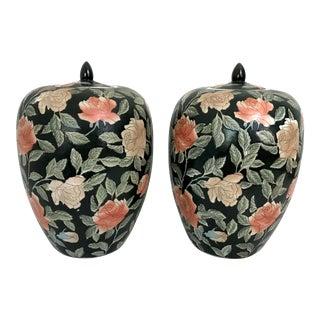 Vintage Chinese Black and Orange Rose Ginger Jars - a Pair For Sale