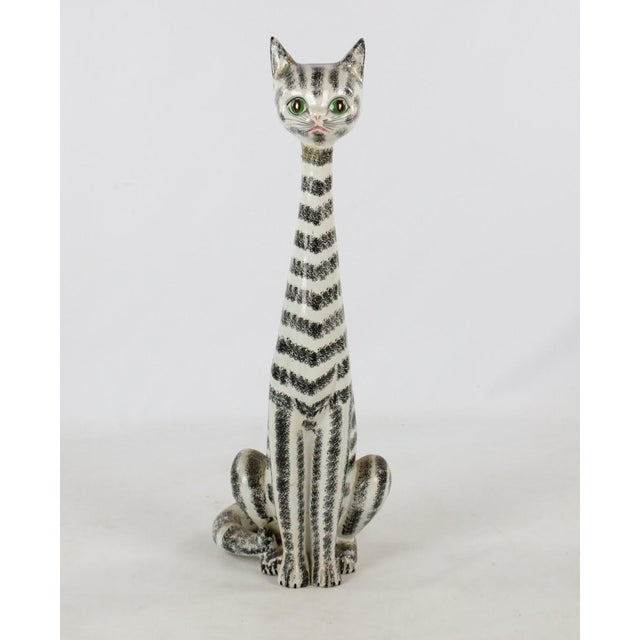 Mid-Century Italian Majolica Tall Ceramic Cat Sculpture For Sale - Image 13 of 13
