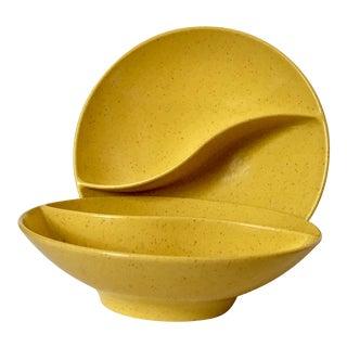 Mid-Century Modern Melamine Divided Bowls - A Pair