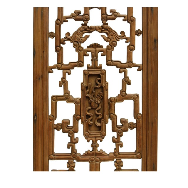 Lights Chinese Vintage Light Brown Relief Motif Wood Wall Hanging Art For Sale - Image 7 of 11