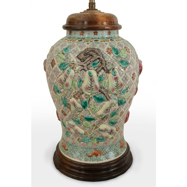 Pair of Asian Chinese Style Large Ginger Jar Shaped Porcelain Lamps For Sale - Image 4 of 5