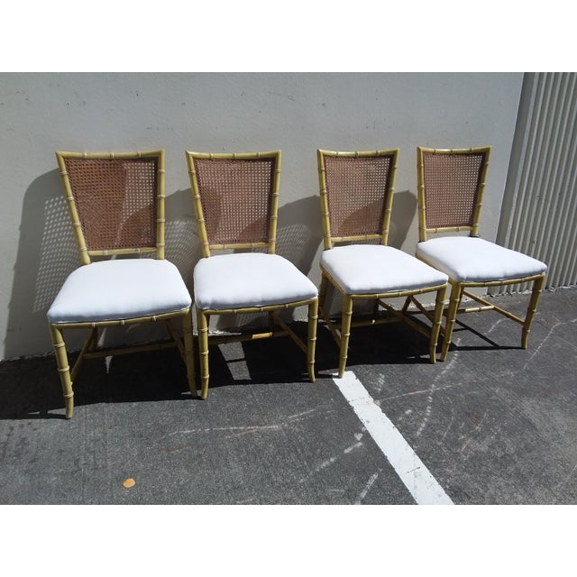 Faux Bamboo Set of Four Mid Century Modern Faux Bamboo Side Chairs For Sale - Image 7 of 10