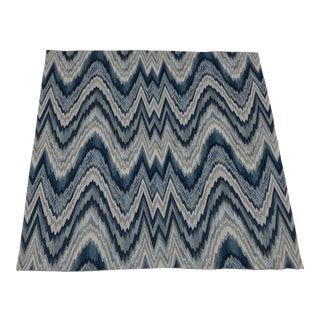 Schumacher Flame Stitch Woven Delft Blue Textile For Sale