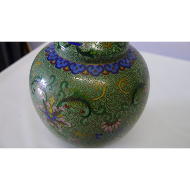 Green 20th Century Chinese Green Cloisonné Vase For Sale - Image 8 of 9
