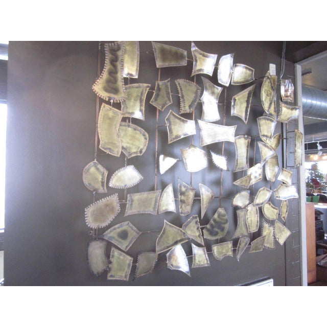 1980s Curtis Jere Attributed Monumental Brass Wall Sculpture For Sale - Image 5 of 7