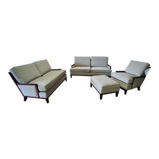 Henredon Barbara Barry Mendicino Walnut Sofa, Loveseat, Chair & Ottoman Set - Set of 4 For Sale