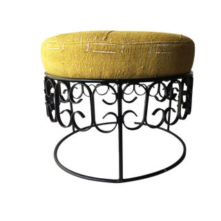 Fer Forge Round Ottoman W/Mustard /White Mud Cloth For Sale