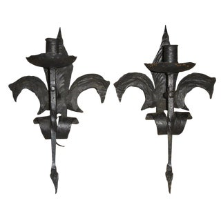 19th Century French Forged Iron Fleur De Lis Torchère Sconces - a Pair For Sale