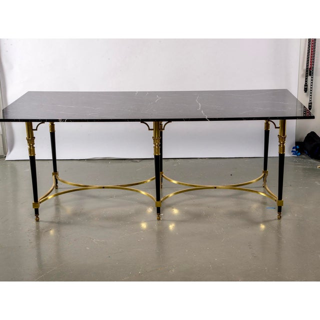 Italian Italian Directoire Style Table With Black Marble Top and Brass Base For Sale - Image 3 of 13