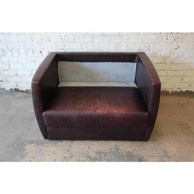 Roche Bobois Bauhaus Style Leather Loveseat or Cube Chair, 1970s For Sale - Image 10 of 12