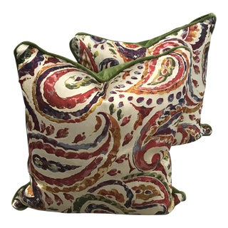 Contemporary Green & Red Pillows - A Pair For Sale