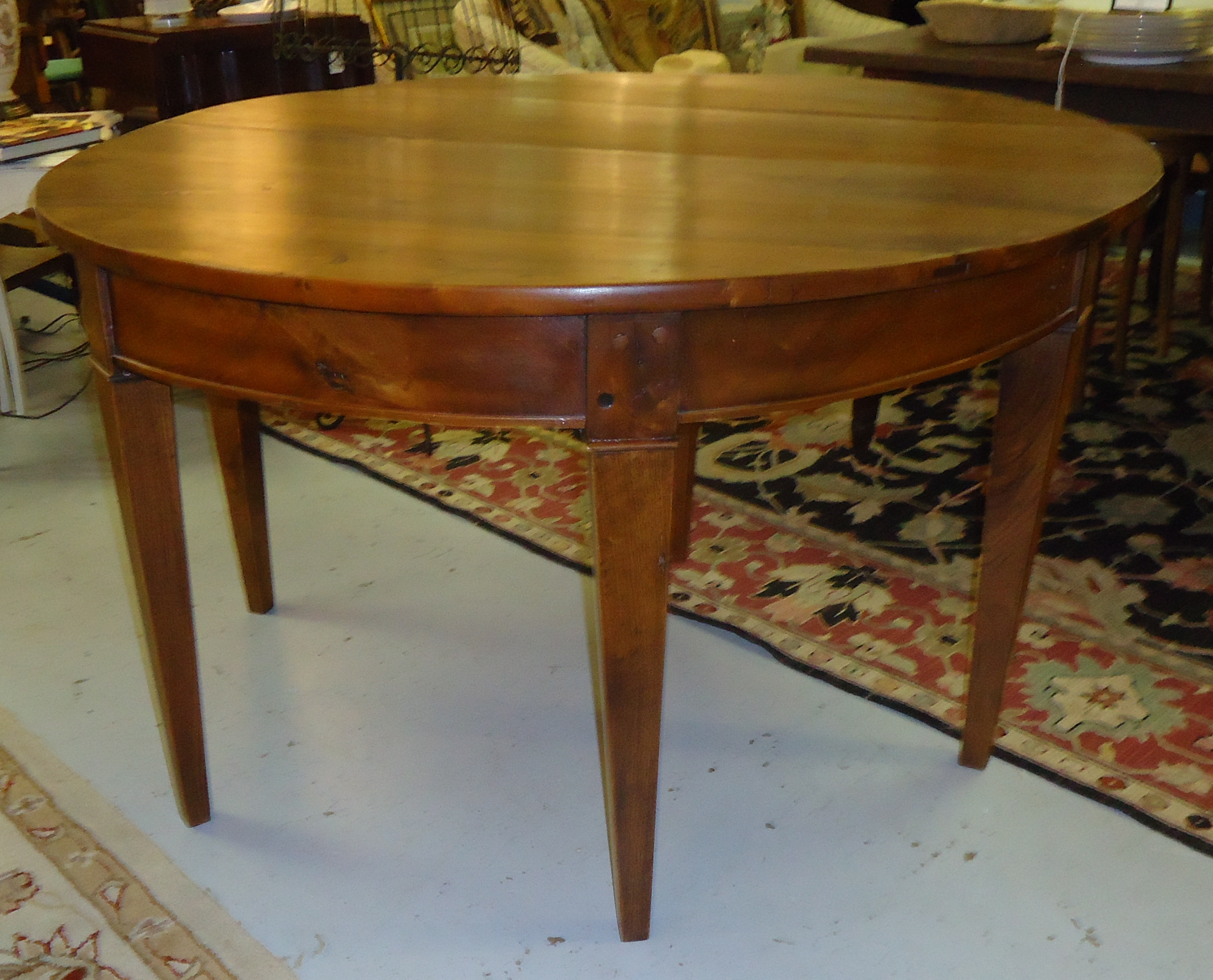 Superieur Antique Walnut Demilune Dining Table   Image 2 Of 7