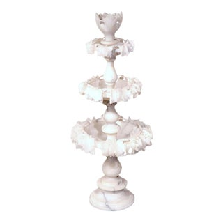 19th Century French 3-Tiered Carved Alabaster Display Piece For Sale