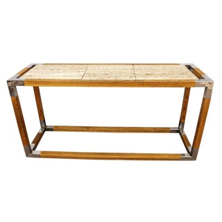 1950s Vintage Mid-Century Modern Chrome Wood Travertine Console